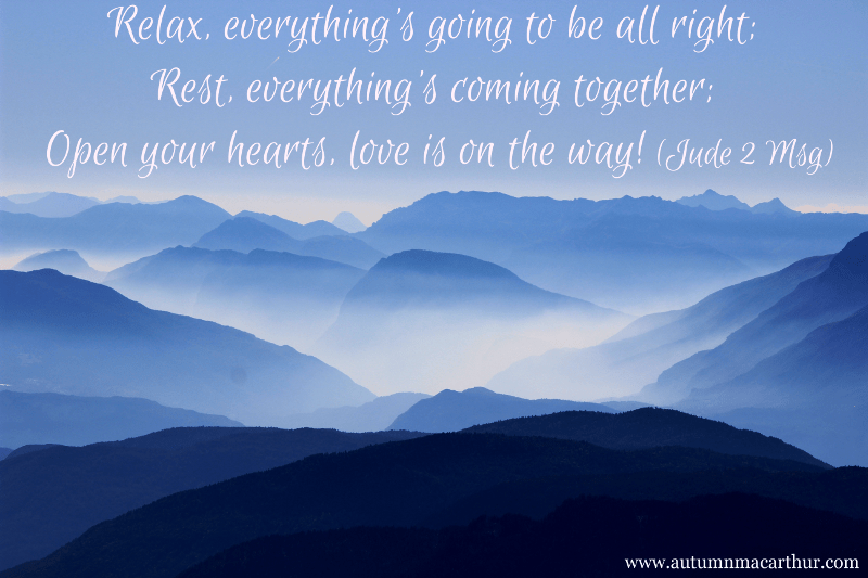 Image of blue misty mountains with Bible verse Jude 2, from inspirational romance author Autumn Macarthur