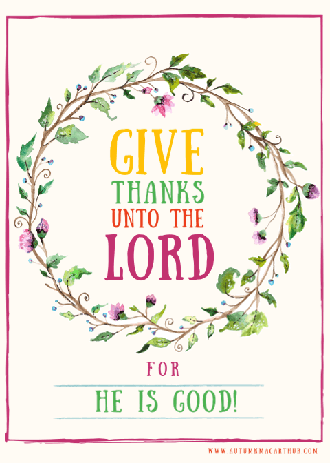 Thanksgiving wreath and Bible verse on author Autumn Macarthur's blog
