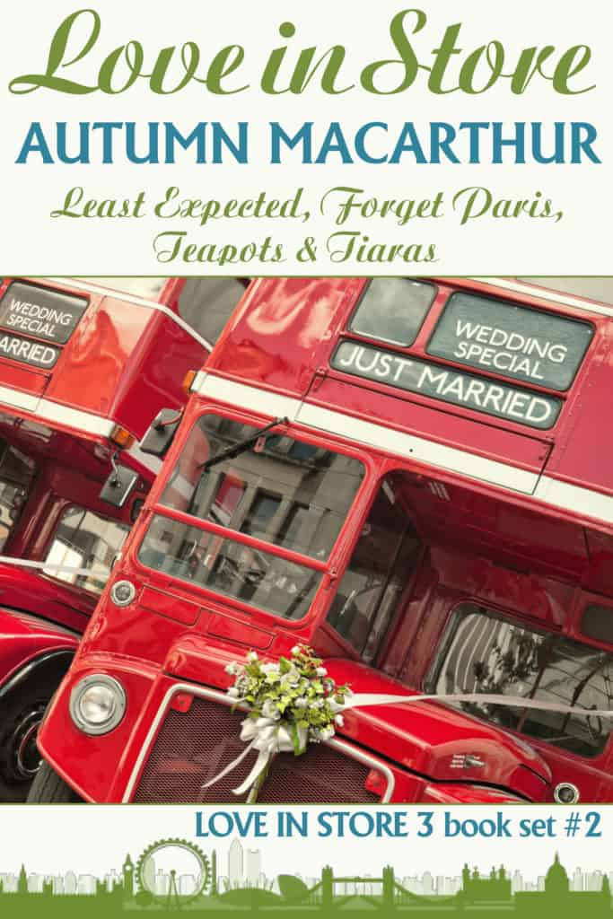 Cover image showing red London buses for Christian romance three book collection, Love in Store set #2