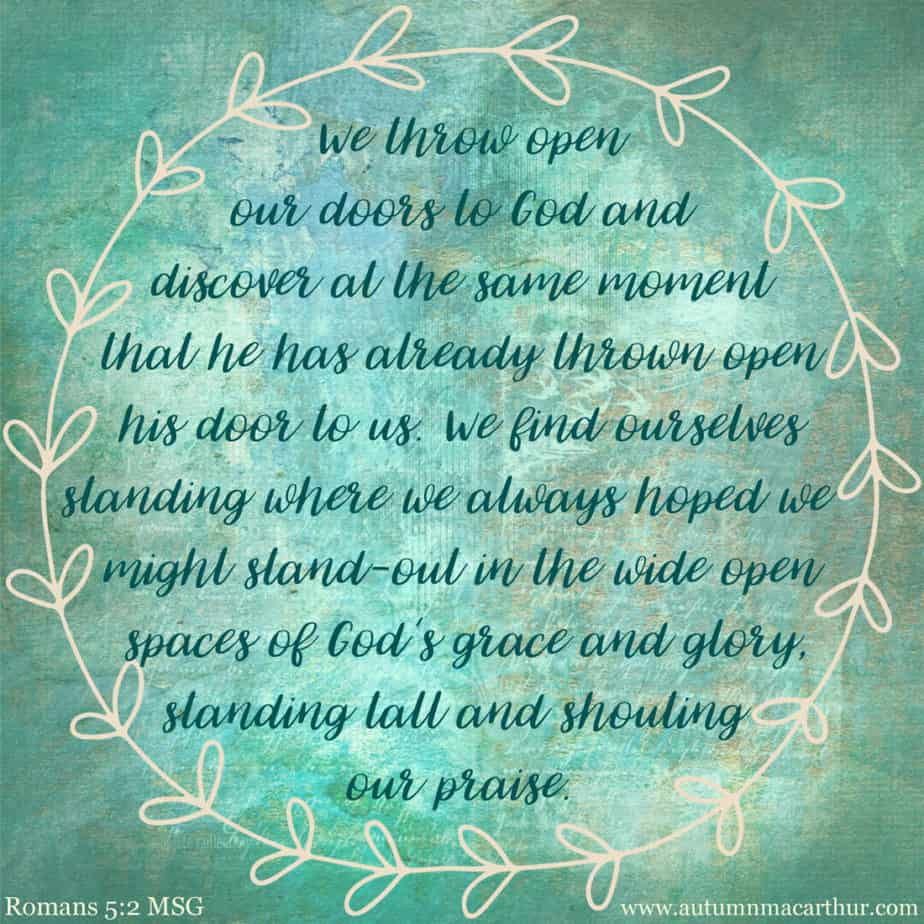 Image featuring Bible verse Romans 5:2 from inspirational author Autumn Macarthur to accompany Lessons from Pollyanna