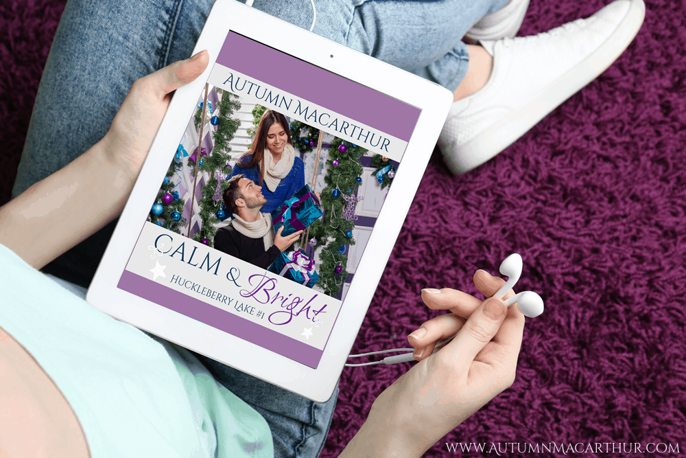 Cover for audiobook version of Calm & Bright, sweet Christian Christmas romance by Autumn Macarthur, on an ipad