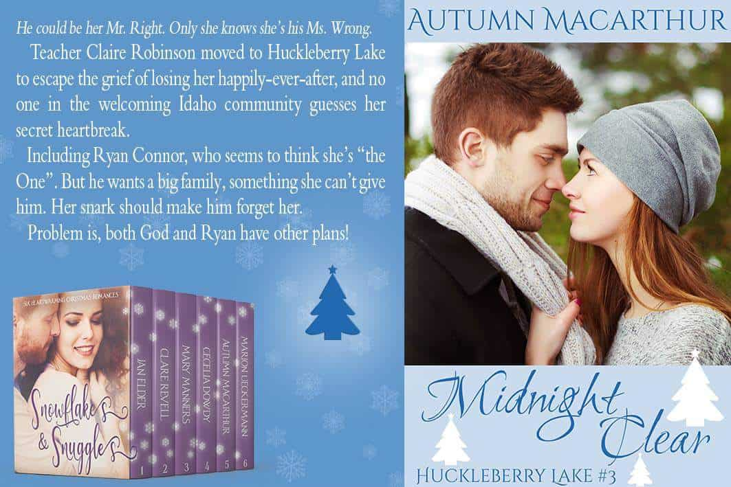 Blurb meme for sweet Christian romance Midnight Clear in the Snowflakes & Snuggles boxed set