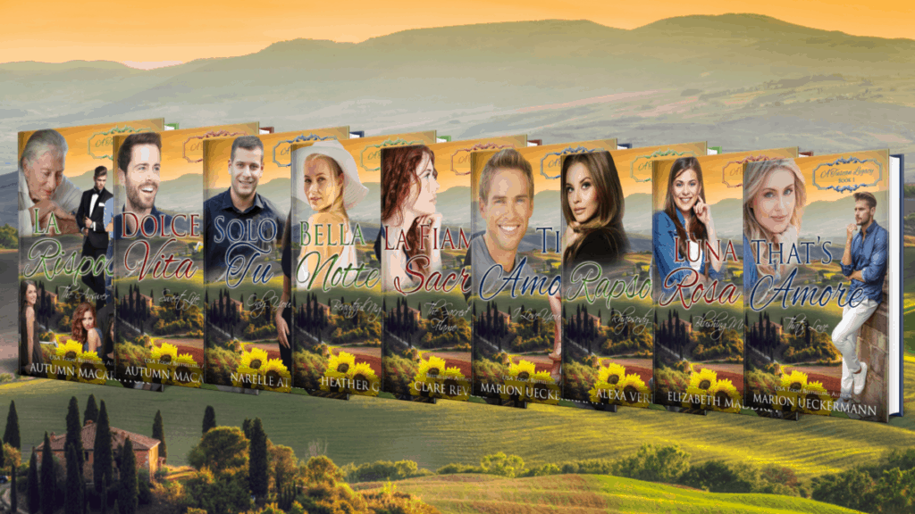 Image of Tuscan villa at sunset, plus all covers for the nine books in the A Tuscan Legacy Christian romance series