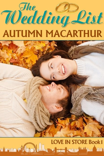 Inspirational romance cover for The Wedding List by Autumn Macarthur, smiling couple lying in autumn leaves