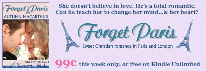 Promo for sweet Christian romance Forget Paris by Autumn Macarthur