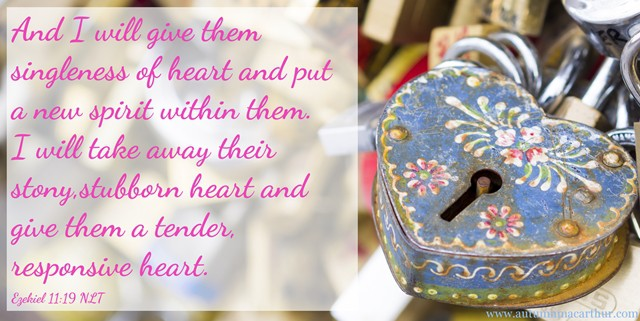 Image of pretty lovelock with Bible verse Ezekiel 11:19, to promote Autumn Macarthur's sweet Christian romance Forget Paris