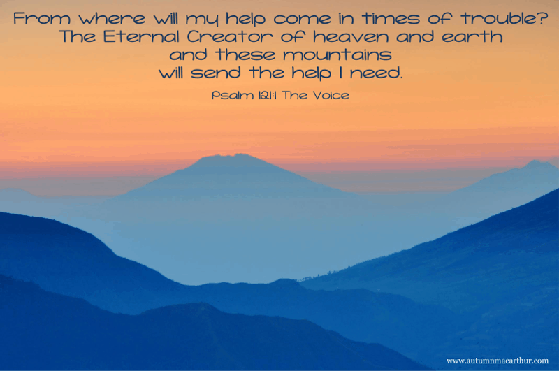 Image of distant mountains, Bible verse Psalm 121:1, from inspirational romance author Autumn Macarthur