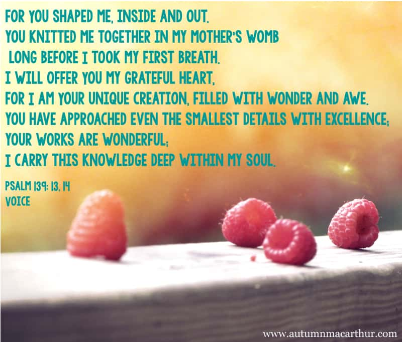 Image of raspberries with quote from Psalm 139, from Christian romance 'More than Friends' author Autumn Macarthur