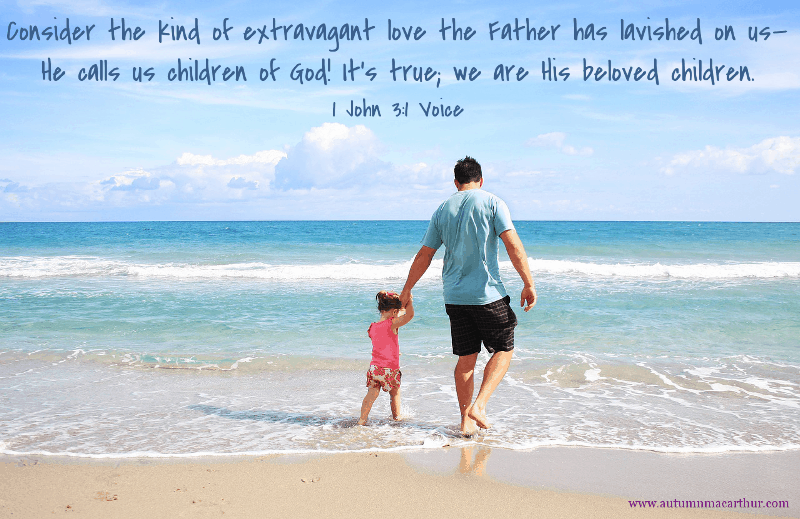 Man and daughter at seaside, Bible verse 1 John 3:1, from Christian romance author Autumn Macarthur