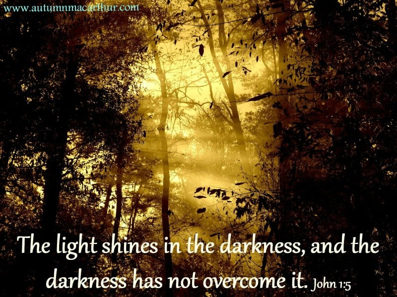 Image of light shining through trees, with Bible verse John 1:5, from inspirational romance author Autumn Macarthur