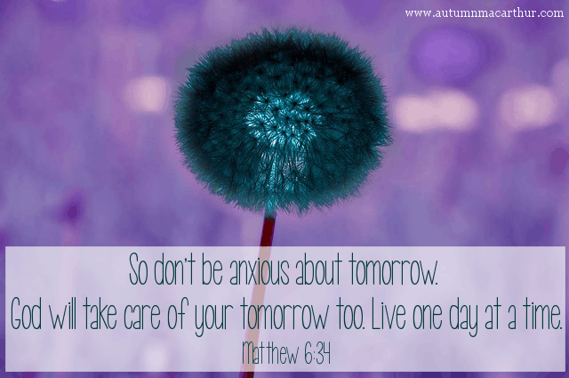 Recoloured image of dandelion, with Bible verse Matthew 6:34, from inspirational romance author Autumn Macarthur