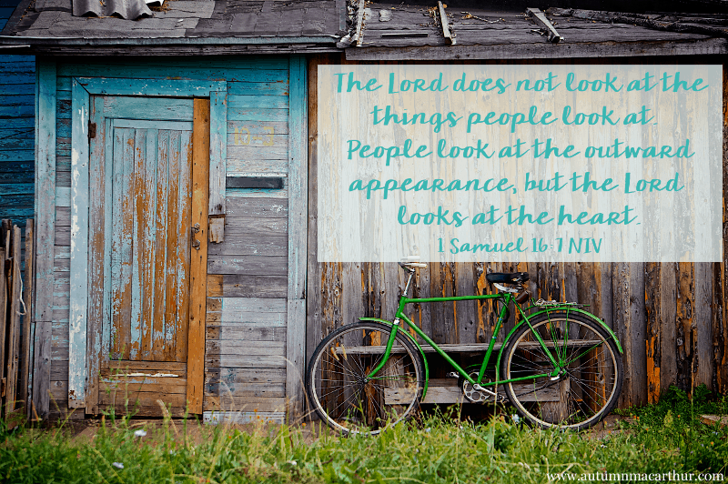 Image of old barn and bicycle, with Bible verse 1 Samuel 16:7, from inspirational romance author Autumn Macarthur