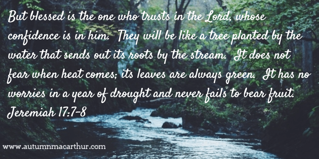 Image of trees by a river and Bible verse Jeremiah 17:7-8, from inspirational romance author Autumn Macarthur