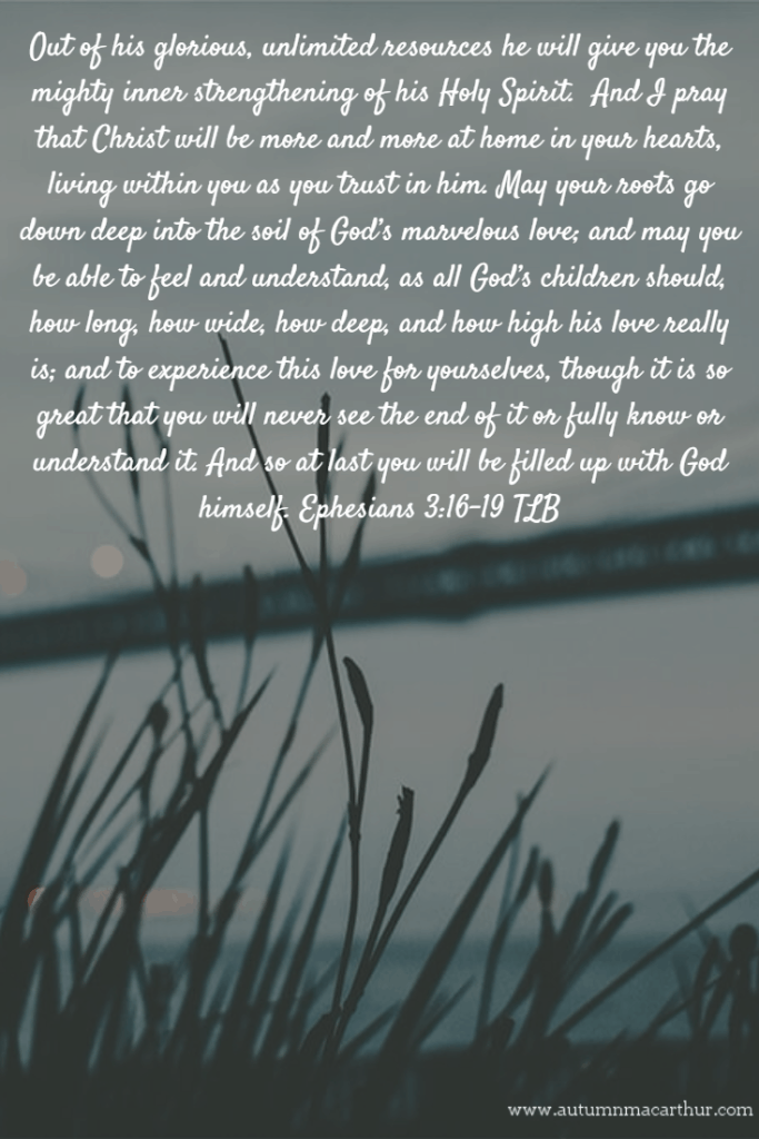 Image of grass at night, with Bible verse Ephesians 3:16-19, from Christian romance writer Autumn Macarthur