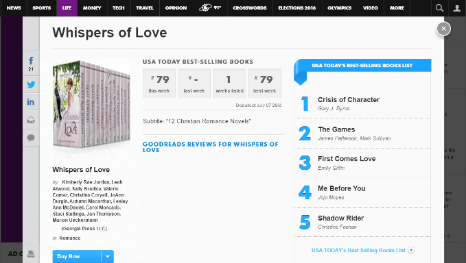 Screenshot from USA Today showing Christian romance ebook set Whispers of Love #79 in the USAT bestseller list on 7 July 2016