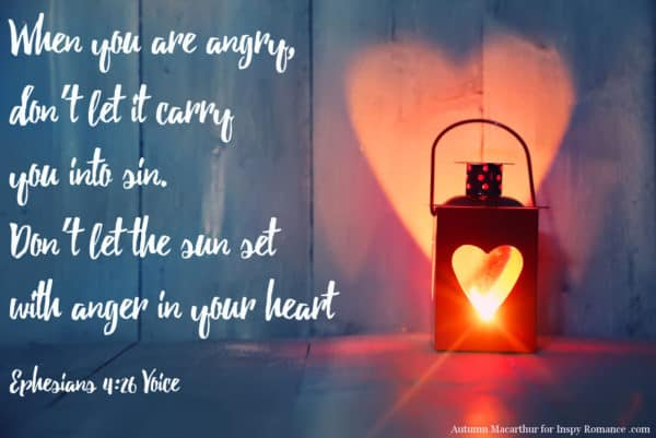 Image of red lamp casting a heart shaped light, with Bible verse Ephesians 4:26 Autumn Macarthur @InspyRomance.com