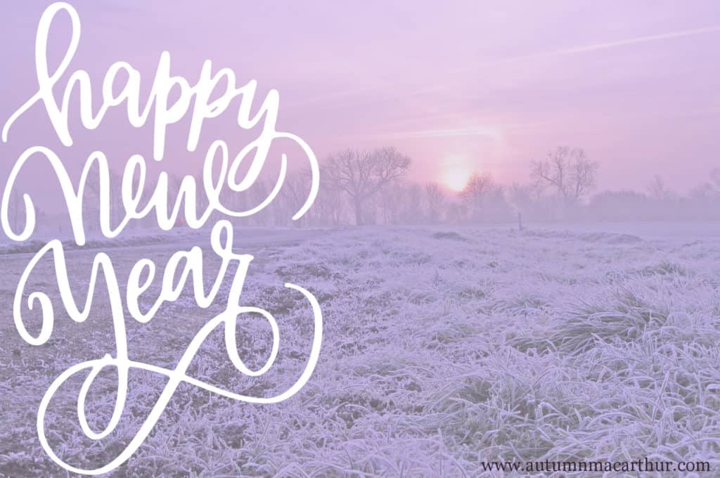 Image of frosty field at dawn with new years greetings from Christian romance author Autumn Macarthur