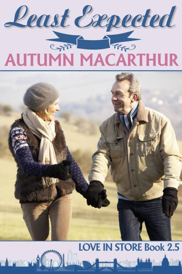 Cover image for London winter sweet inspirational romance featuring an older couple, Least Expected by Autumn Macarthur