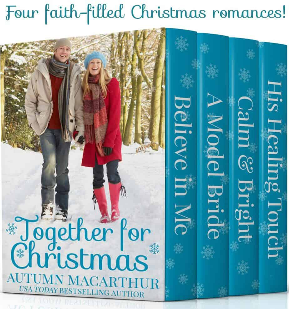 Image for couple walking in snow, cover for Together for Christmas, a collection of four sweet Christian romances by Autumn Macarthur