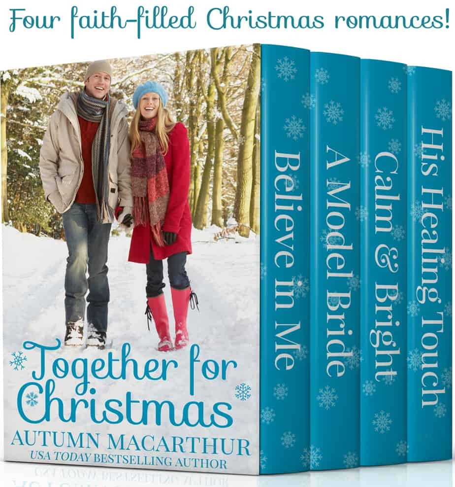 Cover image for 99c Christian romance boxed set, Together for Christmas, a four book collection of clean uplifting romances by Autumn Macarthur, showing a man and woman walking hand-in-hand through snow