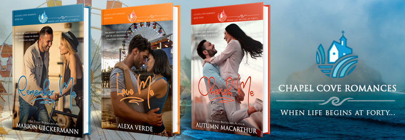 Cover images for Remember me, Love Me, and Cherish Me, sweet Christian small-town romances from the Chapel Cove series