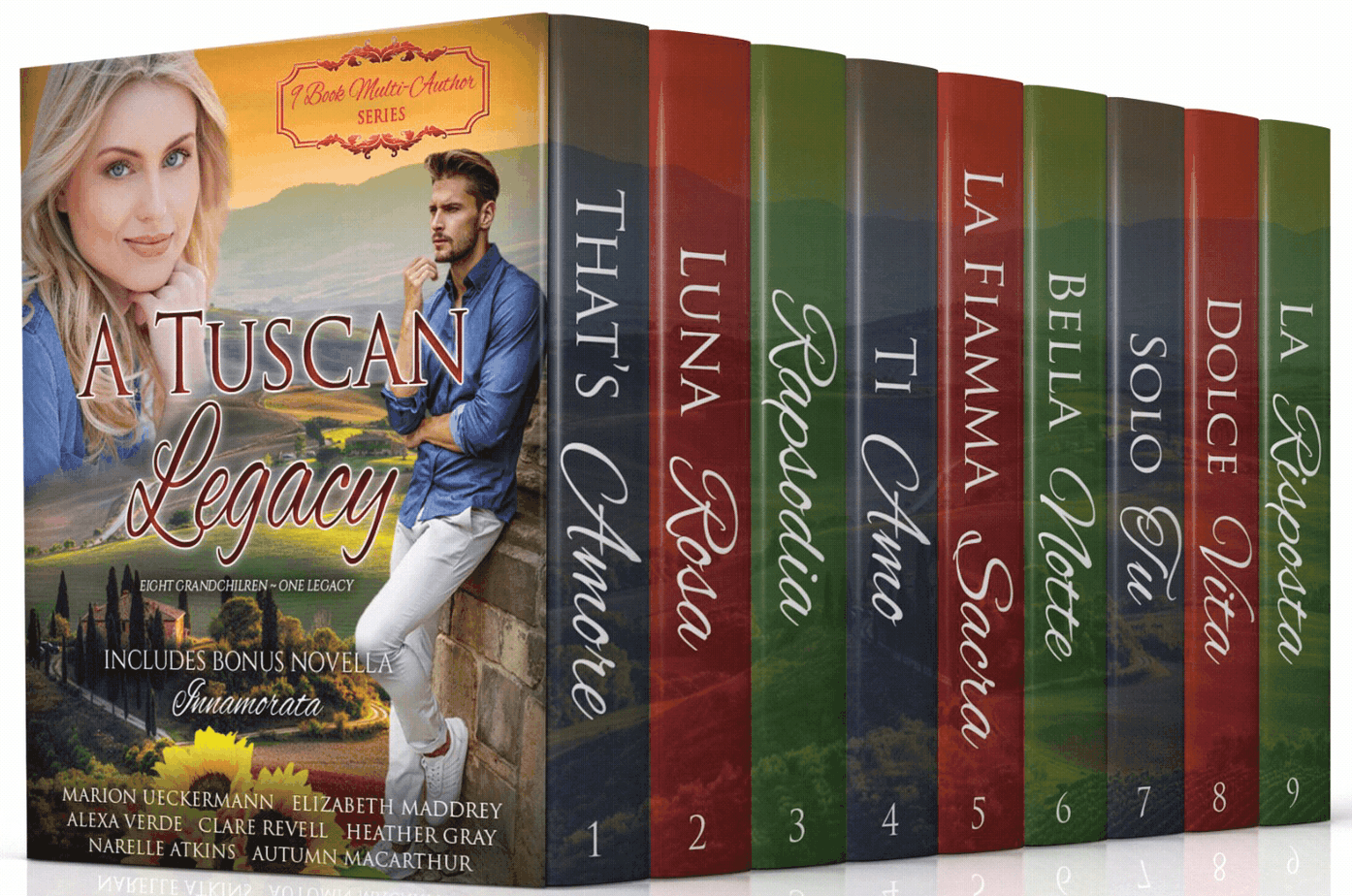 cover image showing a couple and a Tuscan villa for 10 book Christian romance set A Tuscan Legacy