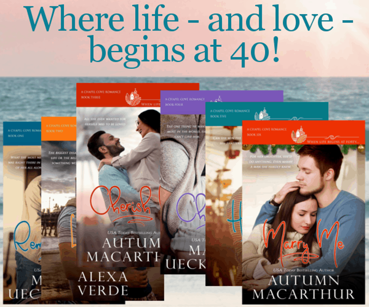 Cover images for Remember me, Love Me, Cherish Me, Choose Me, Hold Me, and Marry Me, sweet Christian small-town romances from the Chapel Cove series