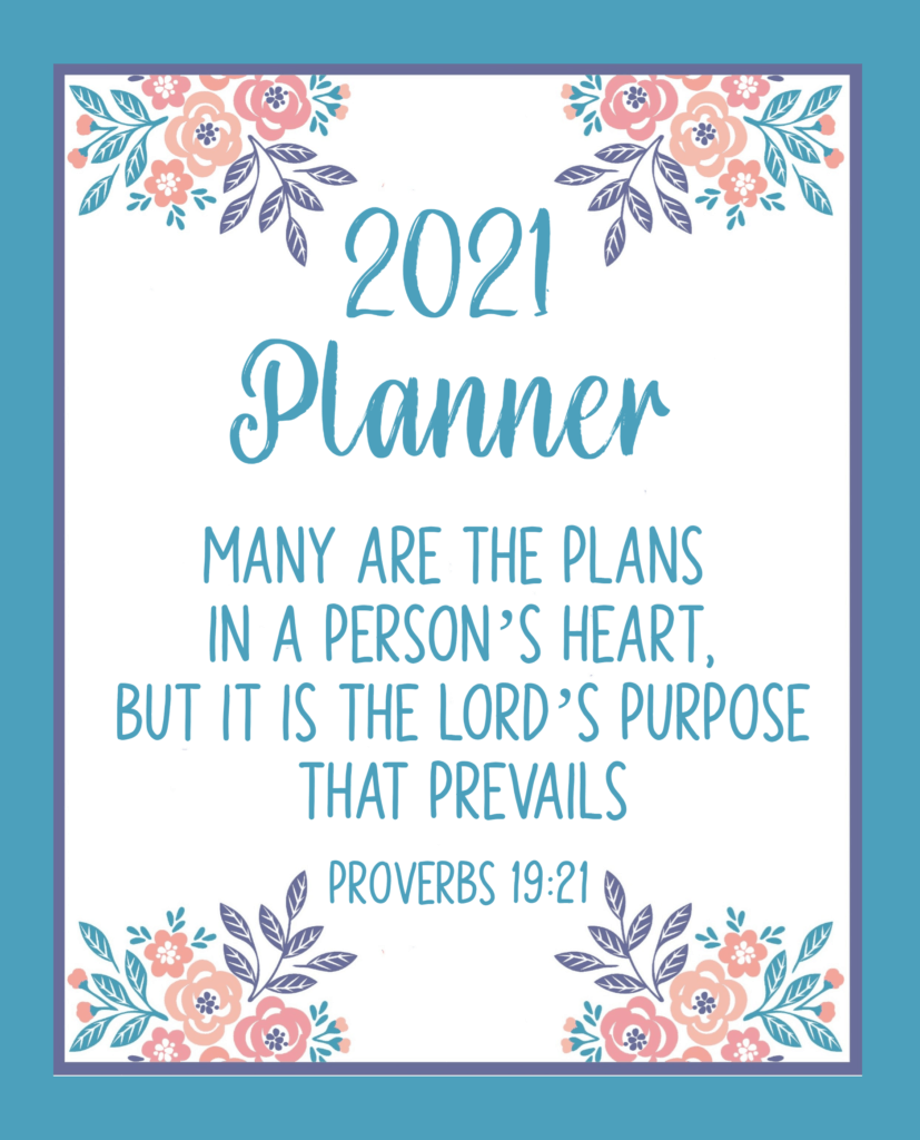 "Cover image for 2021 Bible based planner ""Many Are the Plans"" by Autumn Jane Macarthur"