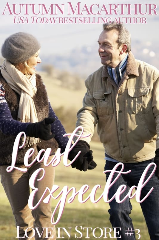 Cover image for London Christmas older couple midlife sweet inspirational romance Least Expected by Autumn Macarthur