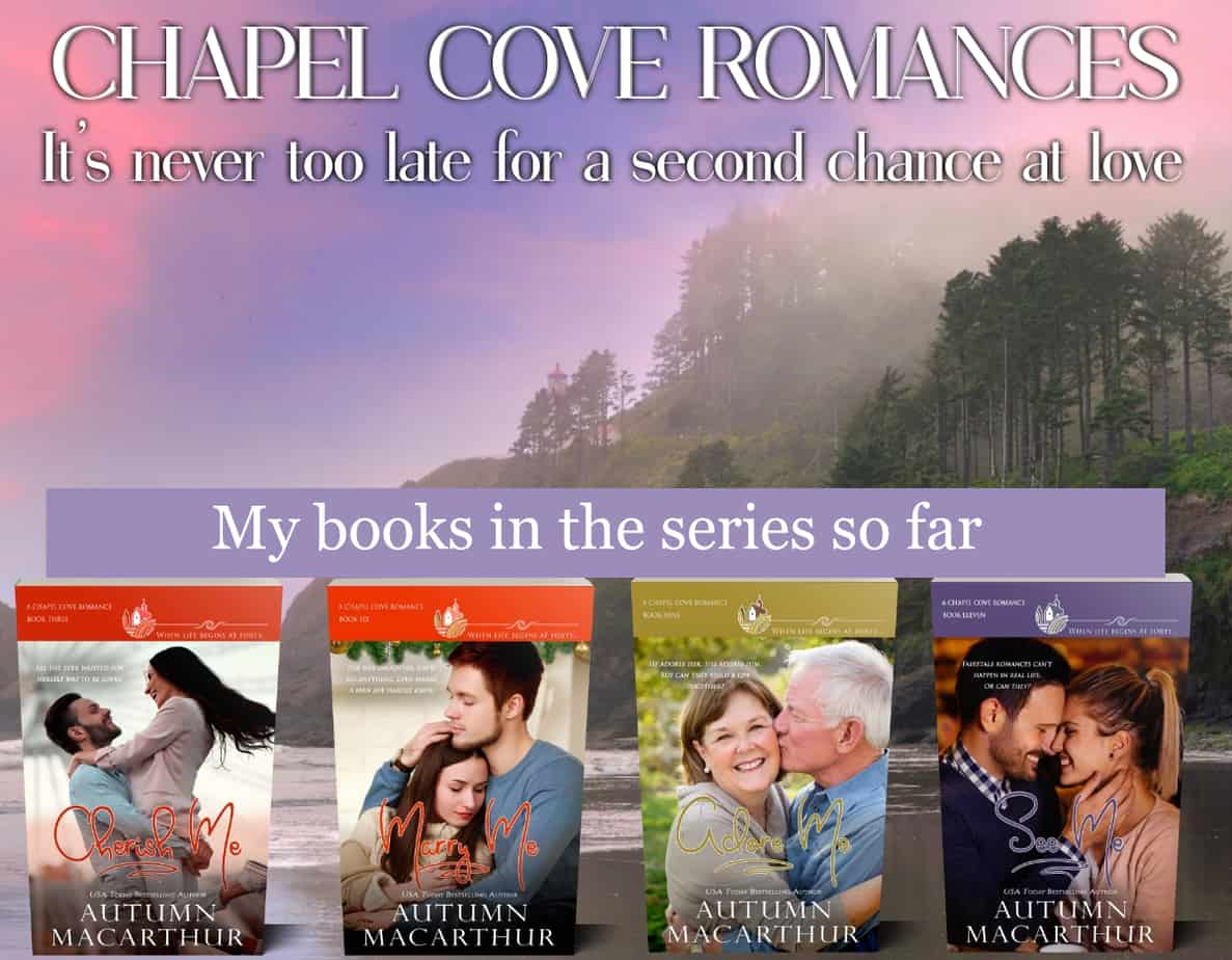 Cover images for Cherish Me, Marry Me, Adore Me, and See Me, sweet Christian small-town romances from the Chapel Cove series