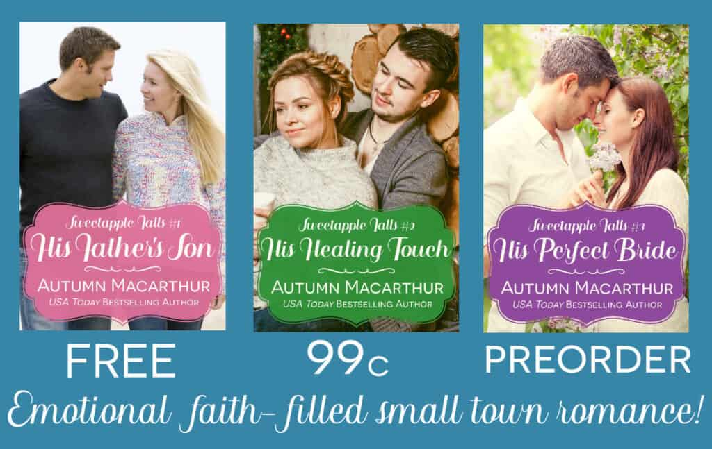 Three book covers from the Sweetapple Falls small-town Christian romance series by Autumn Macarthur
