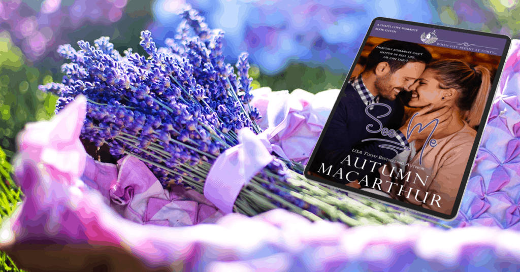 Image of lavender flowers in a basket with ereader showing See Me, a new Christian romance in the Chapel Cove series