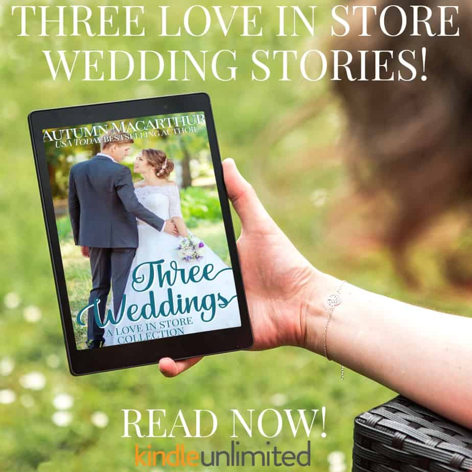 Image of woman reading ereader with cover of Three Weddings boxed set by Autumn macarthur, available now in Kindle Unlimited