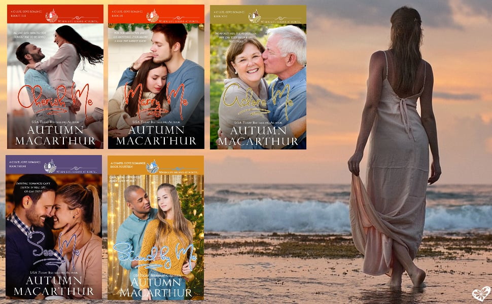 Image of beach plus book covers for Autumn Macarthur's Christian romances in the Chapel Cove small-town series